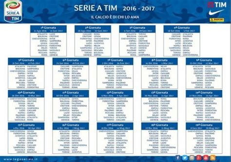 X Calendario Calcio Serie A Il Sorteggio Calendario 2016 2017