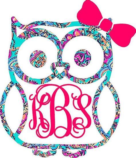 monogram ideas monogram owl decal initials vinyls and lilly pulitzer