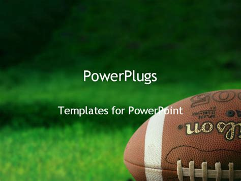 Football On Grass Powerpoint Template Background Of Football Powerpoint Slides
