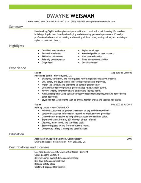 stylist resume exle salon spa fitness sle