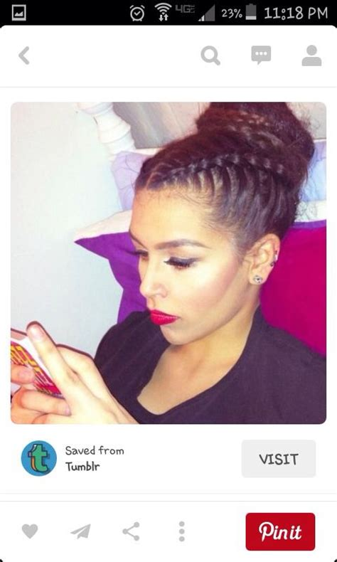 hairstyle with two corn row with bun to the side 2 cornrows into a bun braid updo styles pinterest