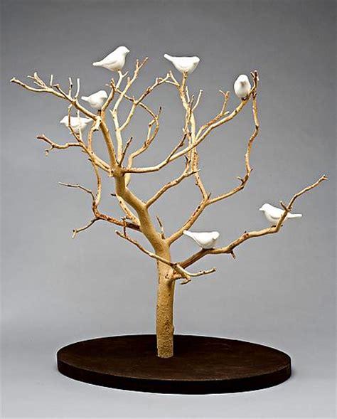 ceremic tree birds in trees tabletop by chris stiles ceramic wood