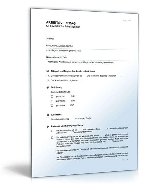 Vorlagen Aufhebungsvertrag Muster Arbeitsvertrag F 252 R Gewerbliche Arbeitnehmer Muster Zum