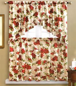 Window Tiers And Valance Benson Mills Holiday Cardinal Kitchen Curtain Swag Amp Tiers