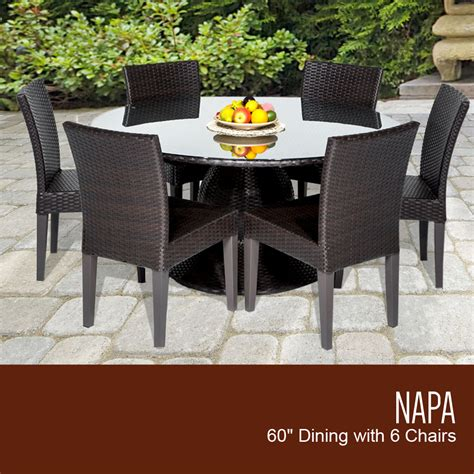 patio table with 6 chairs napa 60 inch outdoor patio dining table with 6 armless chairs