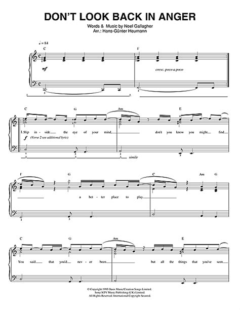 coldplay don t look back in anger chord don t look back in anger sheet music by oasis piano