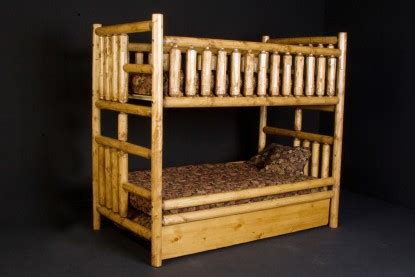 Log Bunk Beds With Trundle Log Bunk Bed With Trundle Rustic Log Trundle Beds