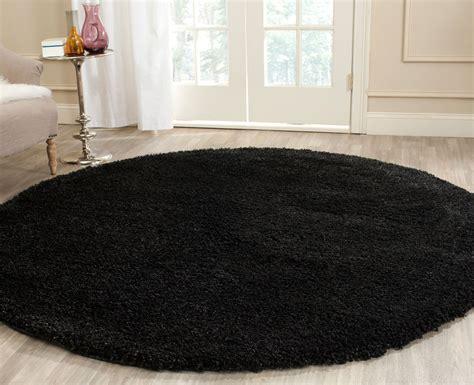 black circle rug thick pile black shag rug california shags safavieh