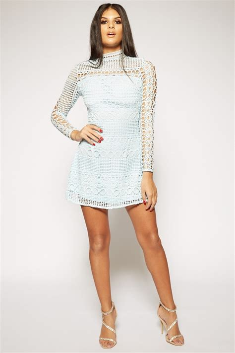 light blue mini dress hannia light blue lace sleeve high neck mini dress