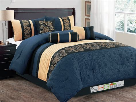 navy comforter set queen 11 pc marquise paisley scroll embroidery comforter curtain