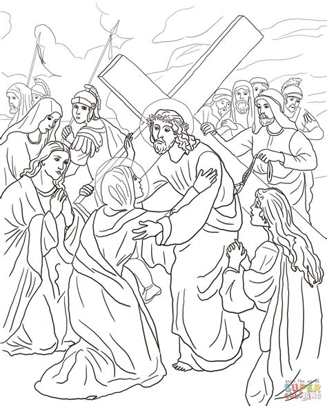stations of the cross coloring pages fourth station jesus meets his coloring page