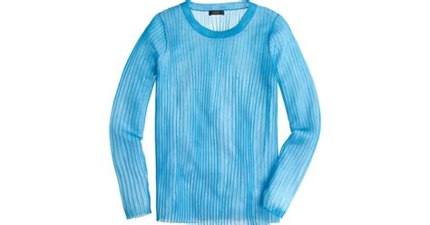 Sweater Rajut Blue Sea Lyst J Crew Collection Ribbed Gauze Sweater In Blue