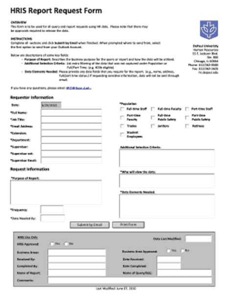 report request form hris report request form fill printable