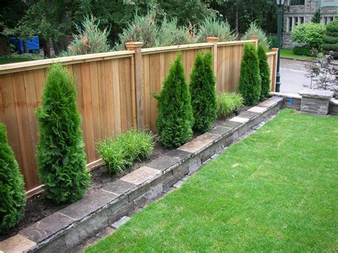 Backyard Fencing Privacy Fence Fence Sod Irrigation System Stone Work Plants Home