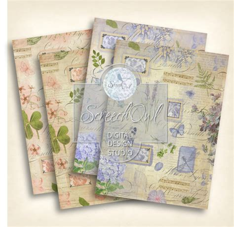 Decoupage Craft Supplies - decoupage paper collage sheet botanical collage