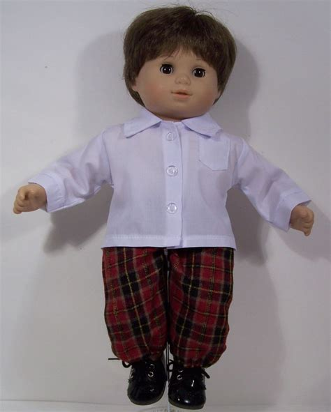 Twones Baby Doll Shirt white dress shirt w plaid doll clothes bitty baby boy debs ebay