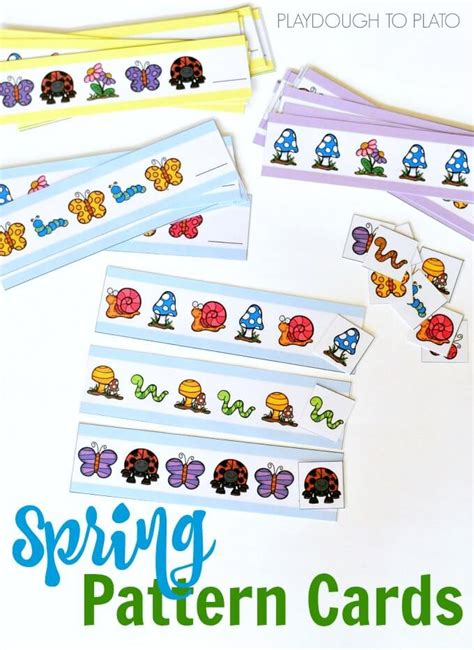pattern games online for preschoolers spring pattern cards playdough to plato