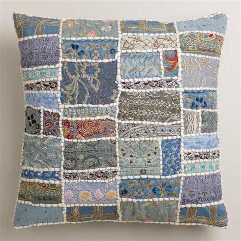 Blue Patchwork Throw - blue patchwork throw pillow world market