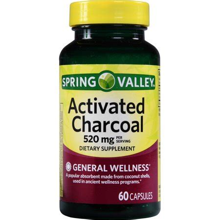 spring valley activated charcoal capsules, 520 mg, 60 ct
