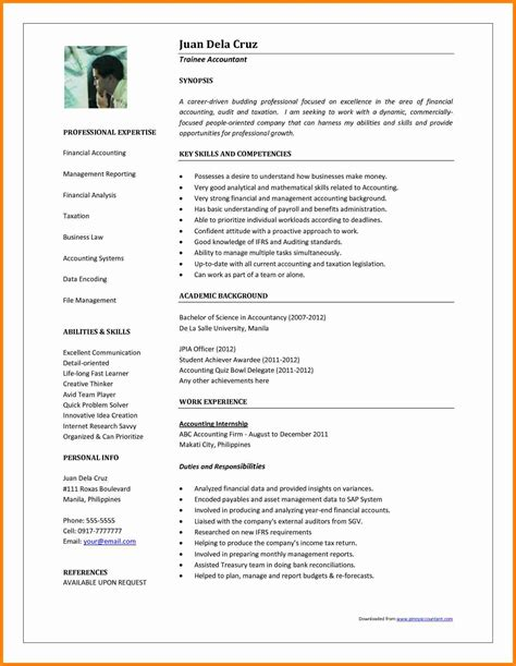 student resume format sle 11 curriculum vitae format for accountant mail clerked