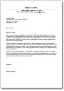 Graduate Student Cover Letter by Sle Cover Letter For Graduate Student De Resume And