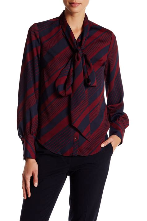 pattern shirt with bow tie lands end canvas pattern bow tie blouse nordstrom rack
