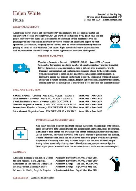 curriculum vitae for nurses nursing cv template resume exles sle