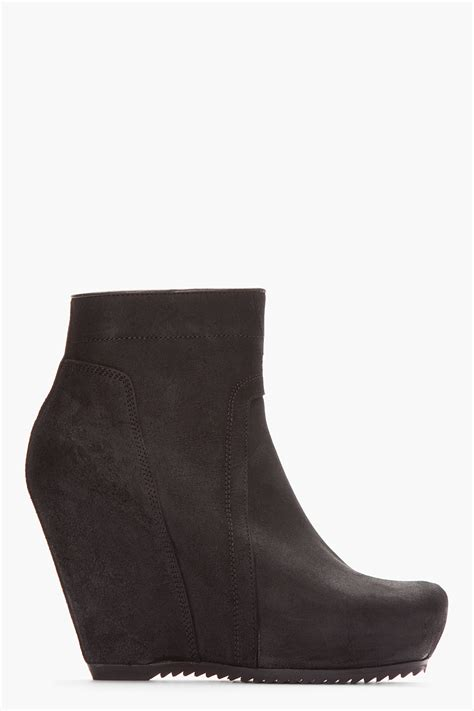 rick owens black brushed suede wedge ankle boots in black