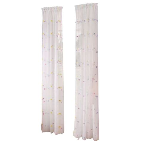 streamer curtains style selections 84 in streamers sheer rod pocket curtain