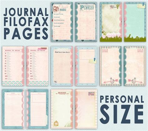 printable journal inserts printable journal pages for filofax personal size