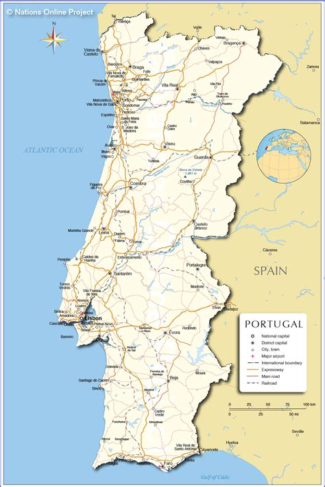 printable road map of portugal portugal bergen karte
