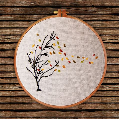 nature cross stitch pattern autumn tree cross stitch pattern thin tree golden leaf