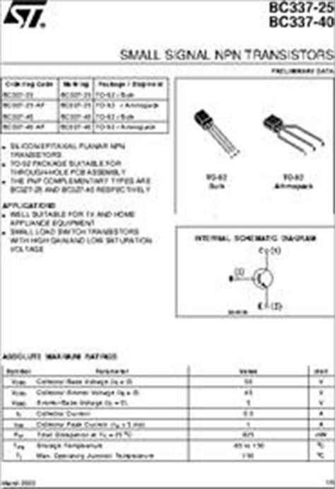 transistor bc 33740 bc337 40 datasheet small signal npn transistors