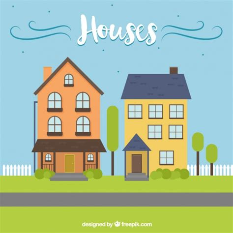 houses illustration vector free