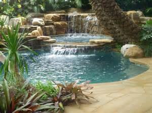 pool fountains and waterfalls 75 relaxing garden and backyard waterfalls digsdigs