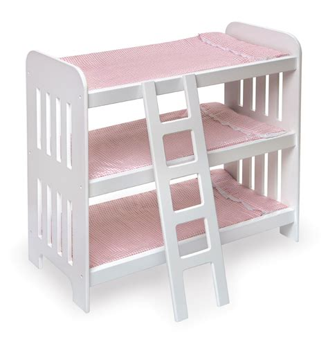 baby doll bunk beds badger basket triple doll bunk bed with ladder and pink