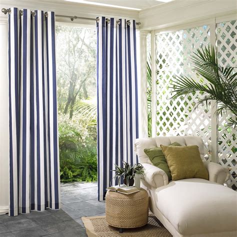 outdoor window curtains shop parasol 108 in l navy circus stripe outdoor window