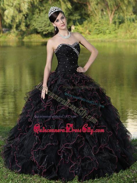 black sweet beaded sweetheart and ruffles layered sweet 16 dresses in