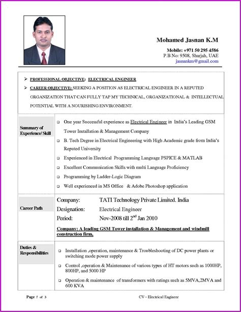 experienced electrical engineer resume format in word electrical resume format tomyumtumweb