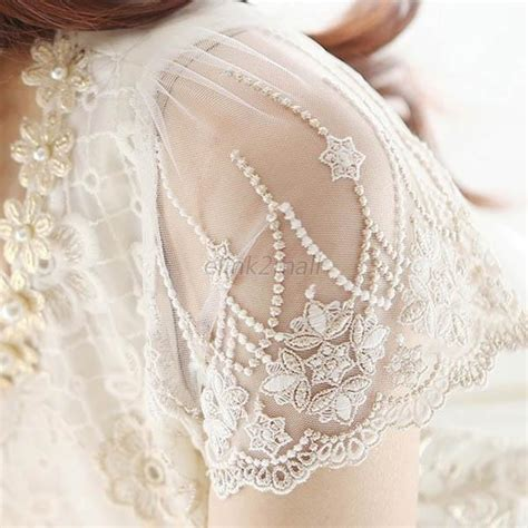 Blouse Atasan Tunik Import White Pearl Size L 305438 s fashion flower beading lace embroidered