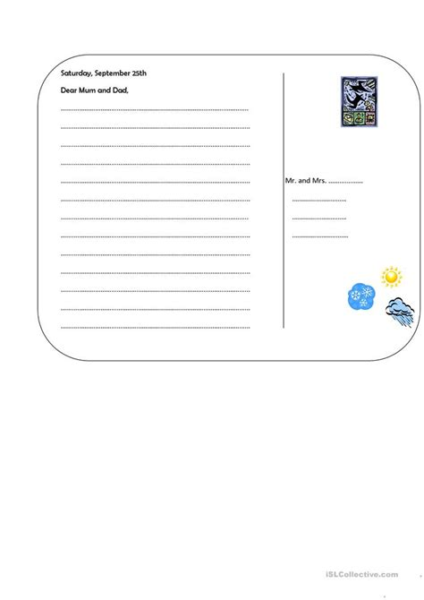 postcard template worksheet free esl printable