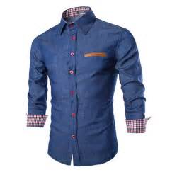 2016 new brand mens denim shirts long sleeve men dress