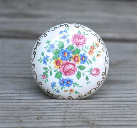 vintage antique porcelain door knobs floral