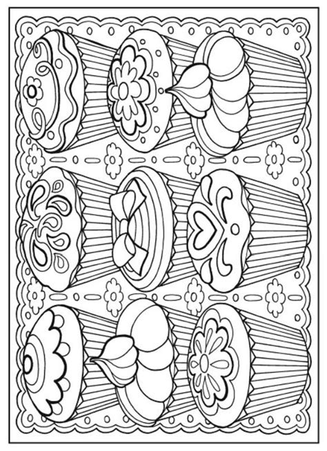cupcakes cakes coloring pages  adults images  pinterest
