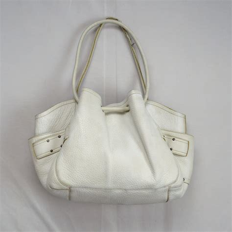Cole Haan Drawstring Hobo Bag by Thick White Pebbled Leather Cole Haan Drawstring Hobo