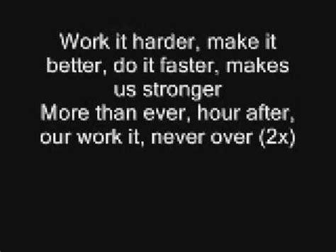harder better faster stronger lyrics techno sonqs playlist