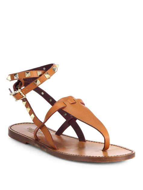 valentino studded sandals valentino studded leather sandals in brown lyst
