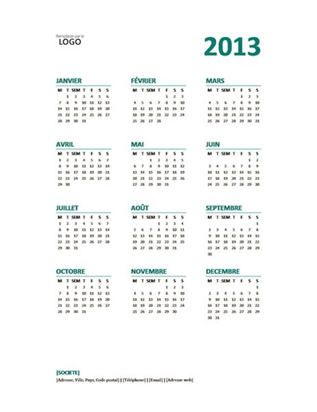 Calendrier Microsoft Office Calendrier Annuel 2013 Office Templates