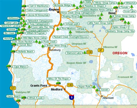map of oregon coast state parks oregon map of csites places to c and hike in