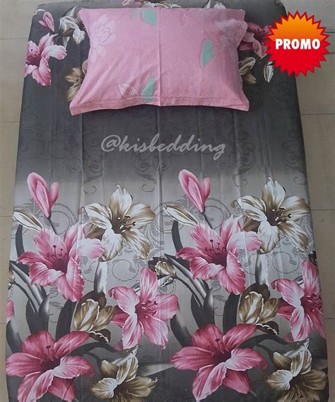 sprei motif bunga bunga abu abu kisbedding